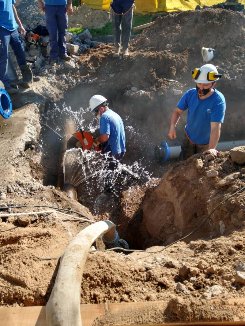 Finalizaron los trabajos de empalme en la red de agua