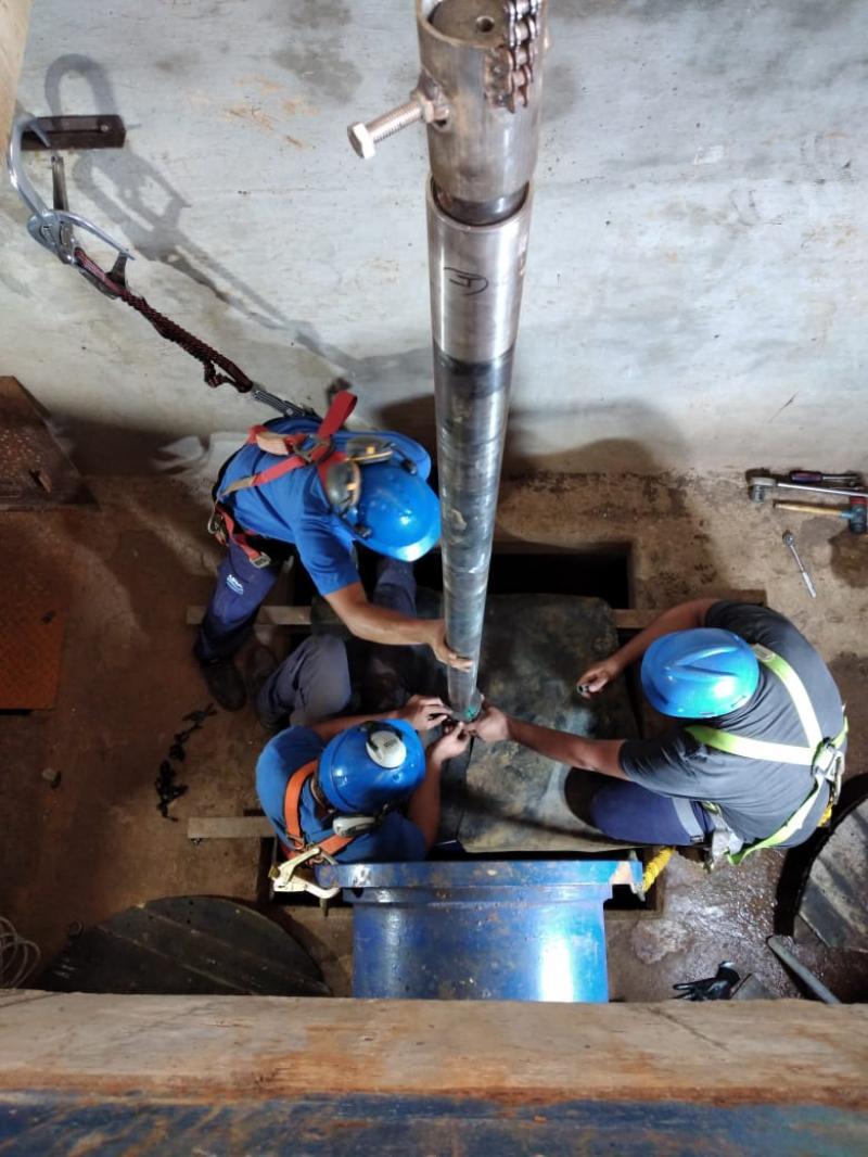 Avanza el recambio del equipo de bombeo en la  Planta Potabilizadora de ABSA