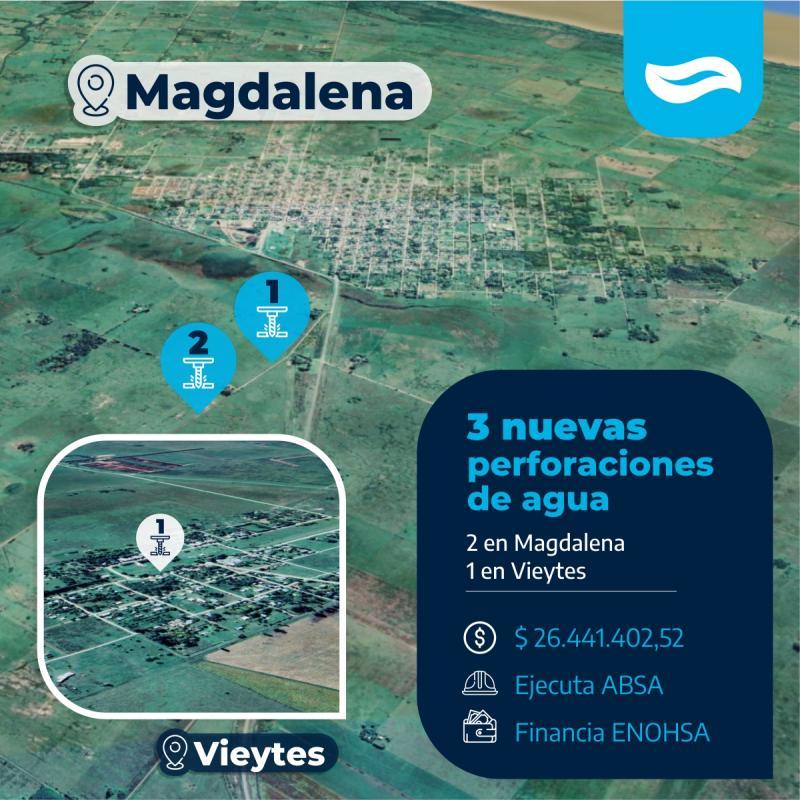 ABSA suma tres nuevas perforaciones de agua en el partido de Magdalena