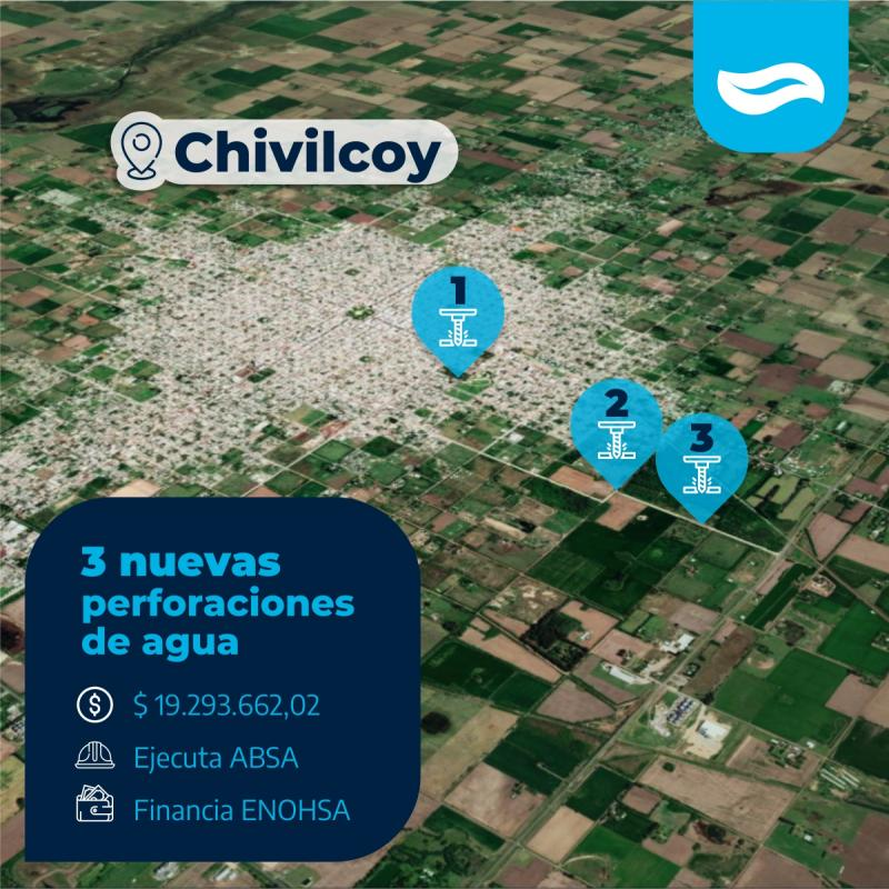 ABSA suma tres nuevas perforaciones de agua a la red de Chivilcoy