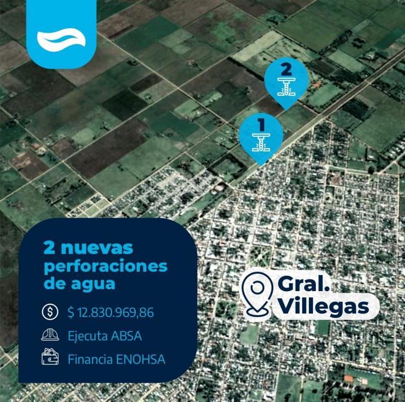 ABSA suma dos nuevas perforaciones de agua a la red de General Villegas