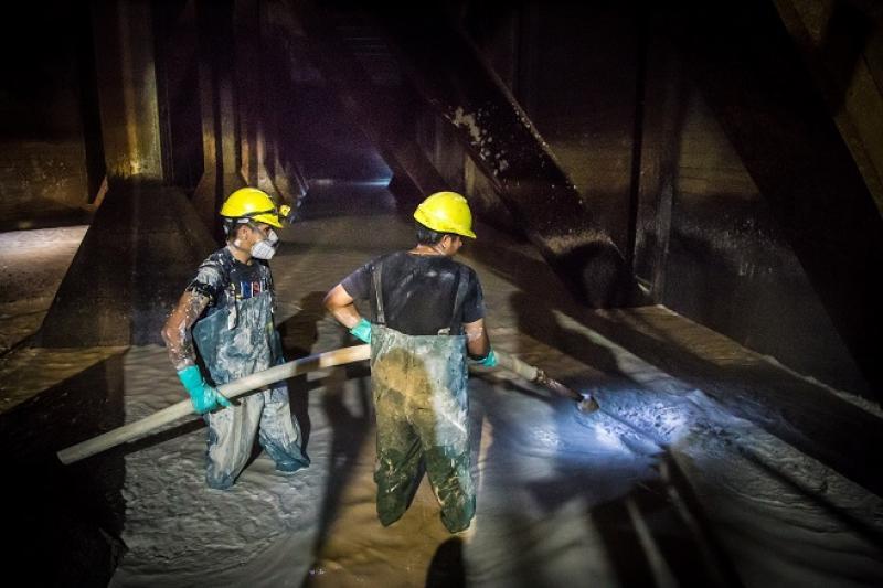 La Plata: finalizó la histórica limpieza de la Cisterna Sur en la Planta Potabilizadora
