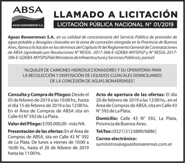 LICITACIÓN PÚBLICA NACIONAL Nº 01/2019